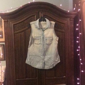 Jackets & Blazers - Cool Cotton Light Blue Jean Vest w/ Snap Buttons